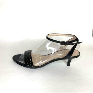 Pelle Moda 'Otis' Black Ankle Strap Heel Sandal